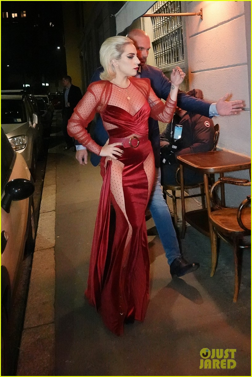 Lady Gaga Brings The Glamour In A Red Gown While Dining In