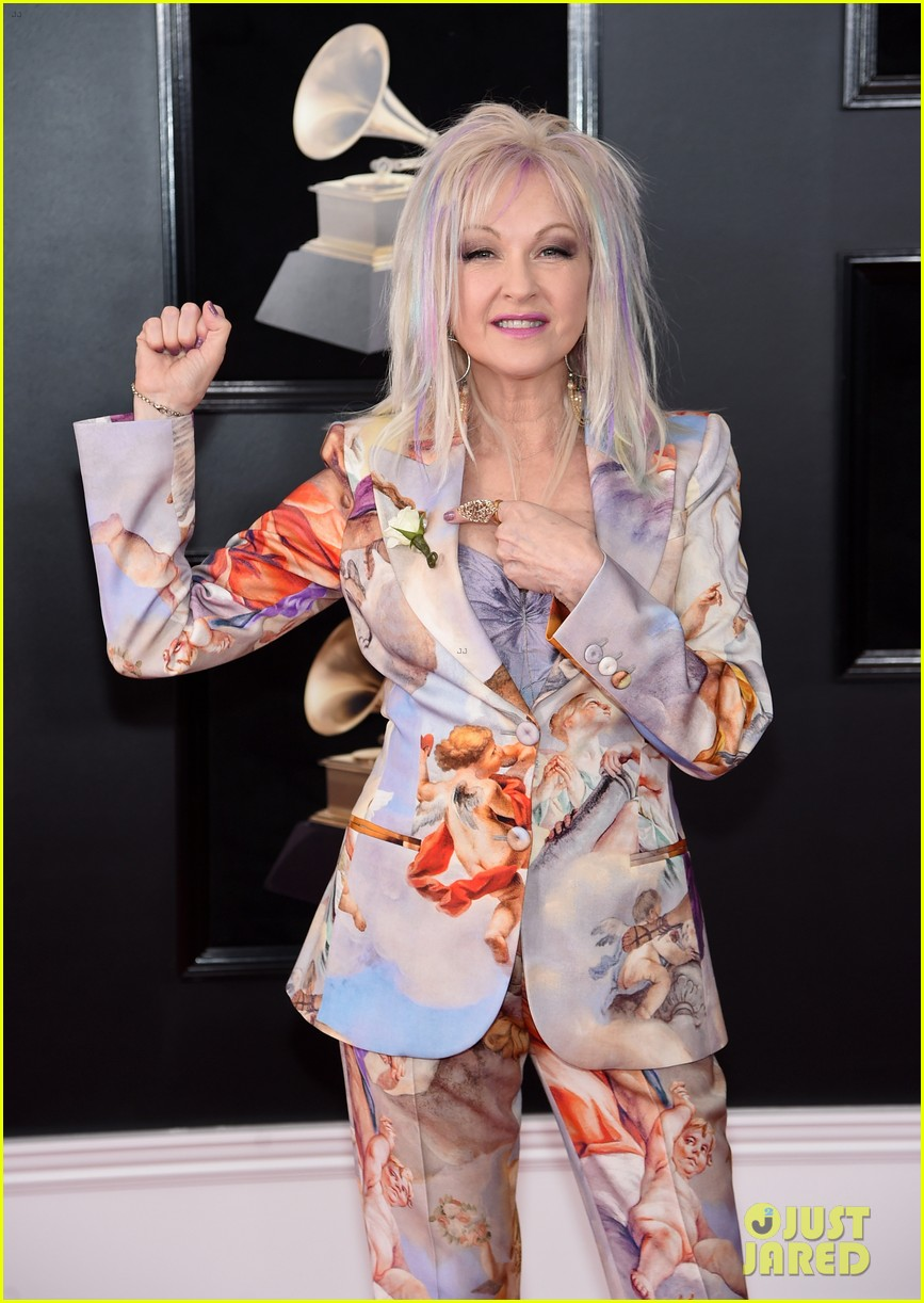 cyndi lauper sports colorful hair and cupid inspired suit at grammys 2018 054022821