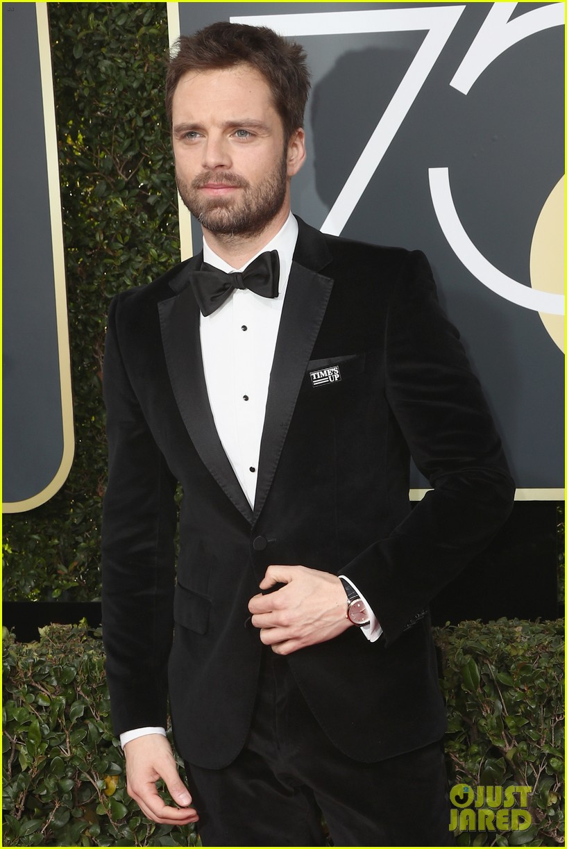 Sebastian Stan Wears His Time S Up Pin On The Red Carpet