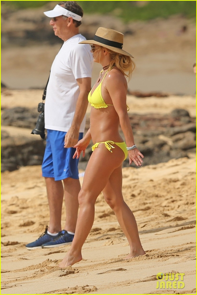 britney spears hits the beach in hawaii in a yellow bikini 304014029