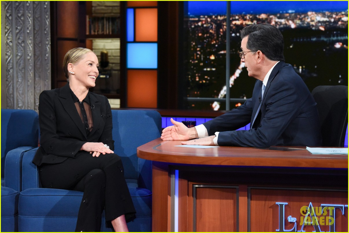 sharon stone talks fliping man heavy scripts with stephen colbert 034016798