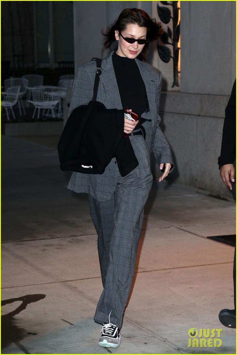 bella hadid fashion week february 2018 suit 044033843