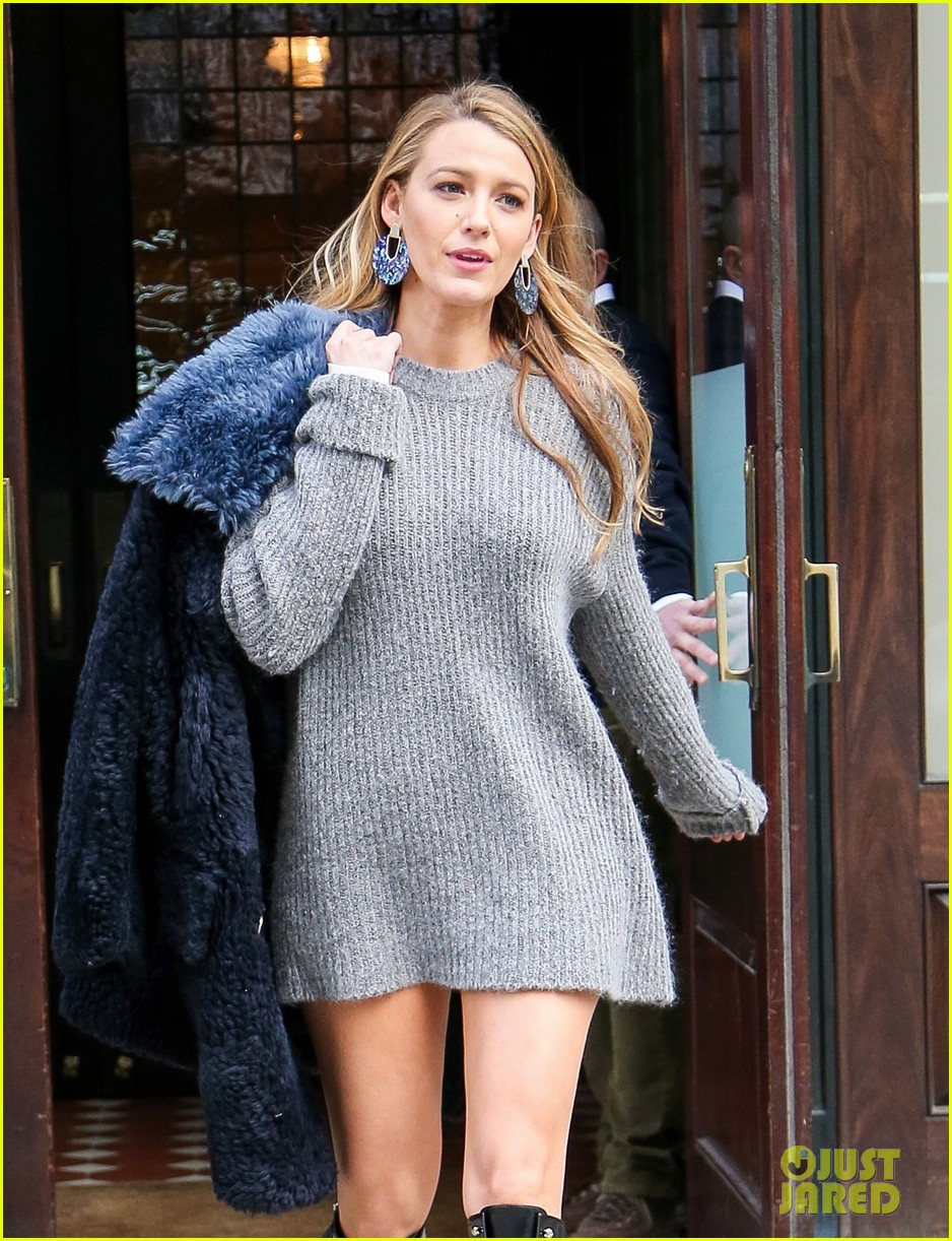 Blake Lively Looks Hot In A Gray Sweater Dress In Nyc