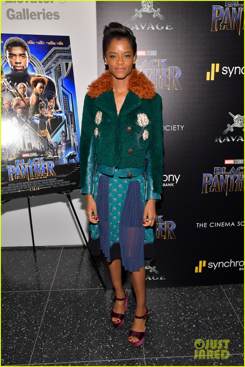 Chadwick Boseman Lupita Nyong O Black Panther Cast Screen The Movie In Nyc Photo 4032619 Black Panther Chadwick Boseman Danai Gurira Letitia Wright Lupita Nyong O Michael B Jordan Ryan Coogler Winston