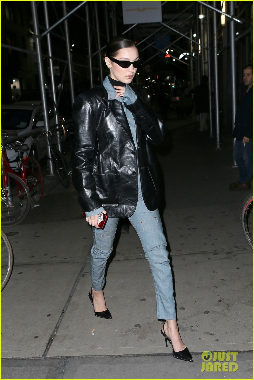 bella hadid rocks denim and leather for modeling agency visit 104028311