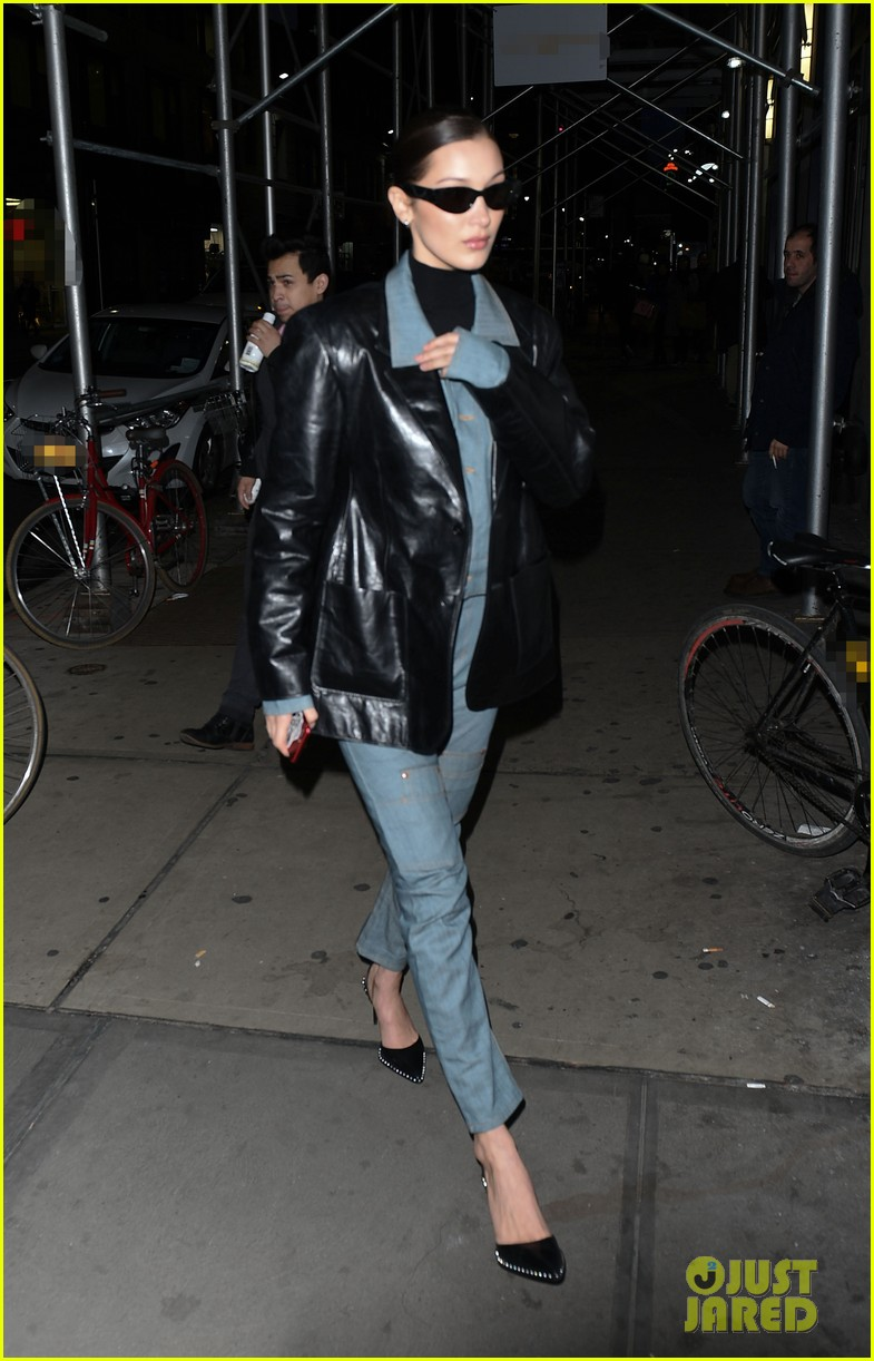 bella hadid rocks denim and leather for modeling agency visit 134028314