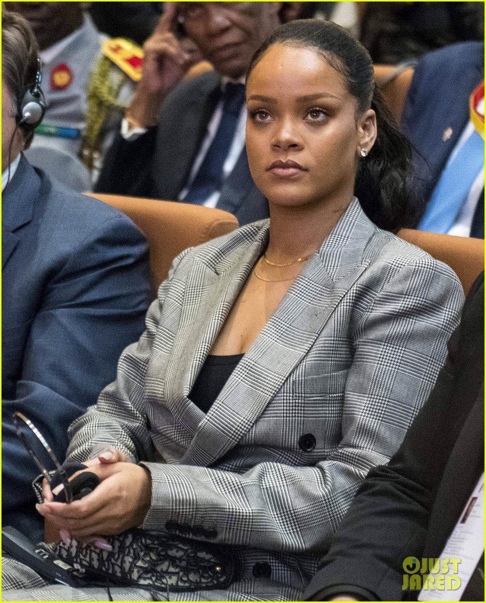 rihanna joins french president emmanuel macron at education conference 014026379
