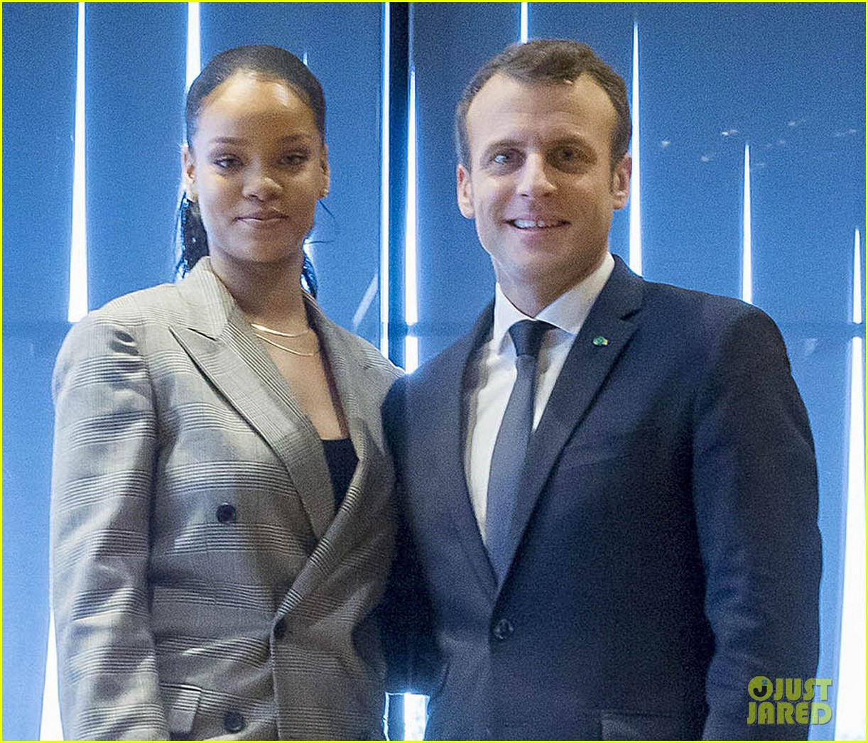 rihanna joins french president emmanuel macron at education conference 024026380
