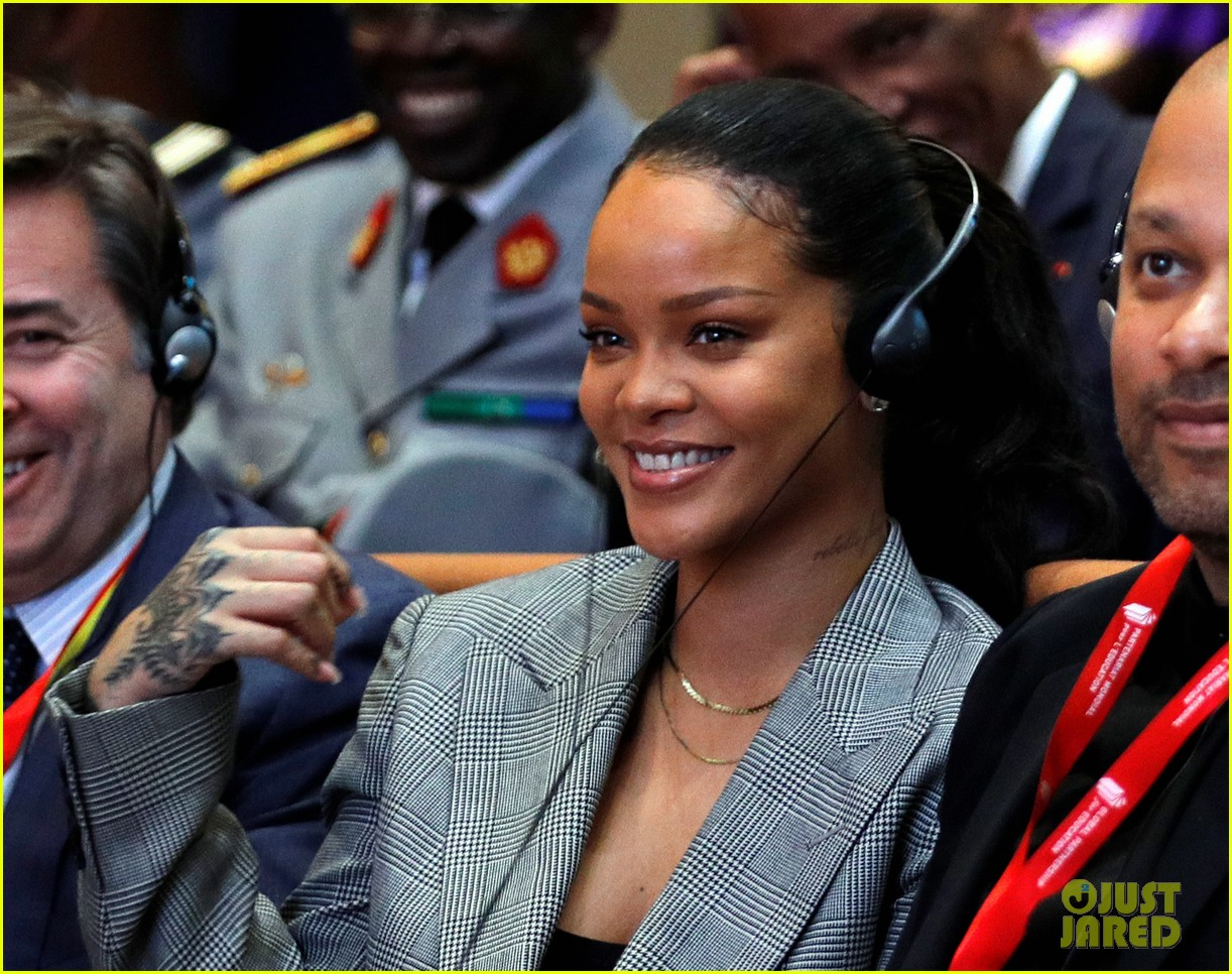 rihanna joins french president emmanuel macron at education conference 044026382