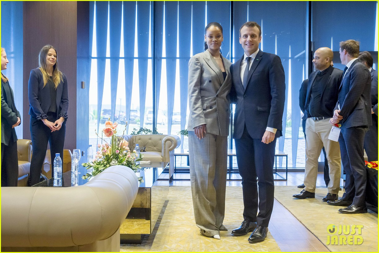 rihanna joins french president emmanuel macron at education conference 054026383