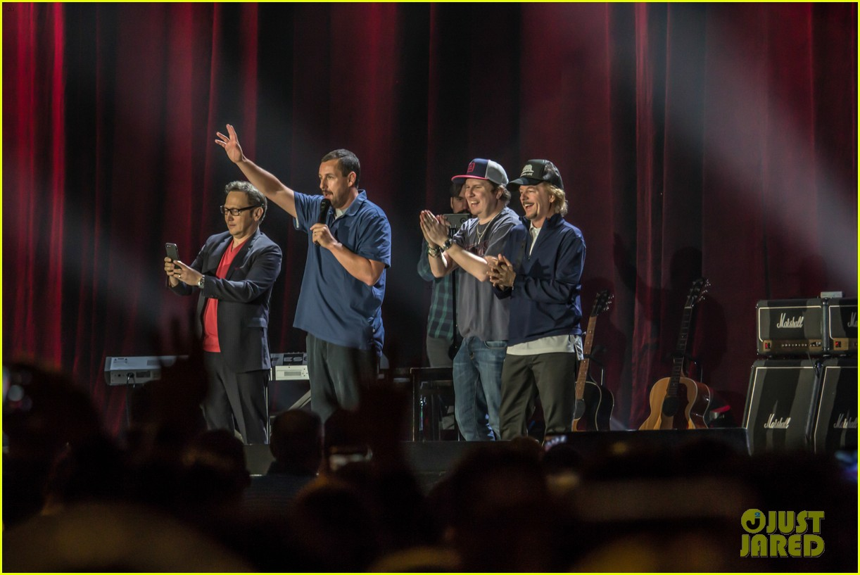 adam sandler is joined at his show by pals rob schneider david spade 034029598