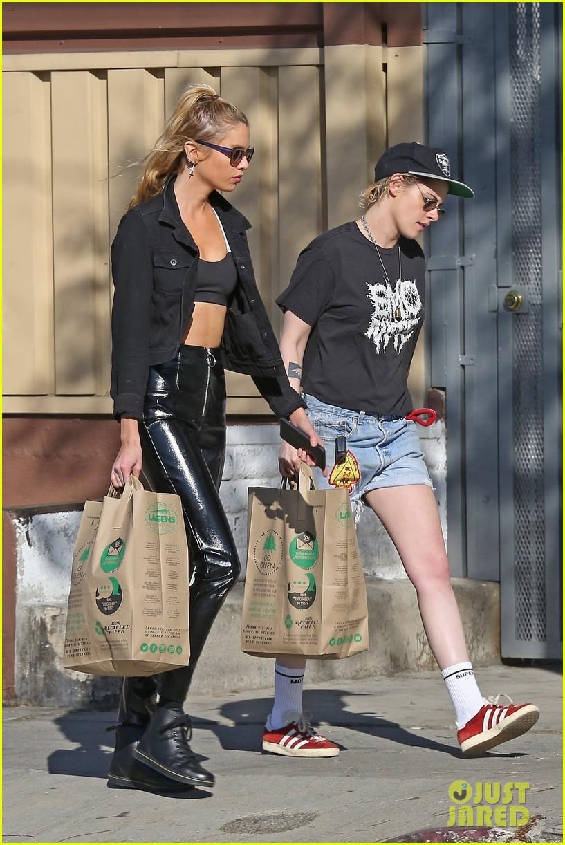 stella maxwell wears leather pants for grocery shopping trip kristen stewart 014035407