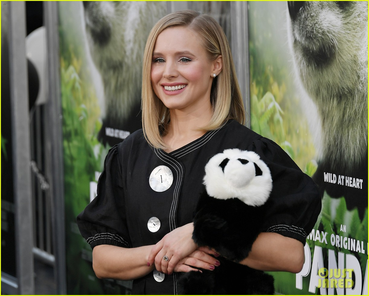 kristen bell cuddles a stuffed animal at pandas premiere 024052122