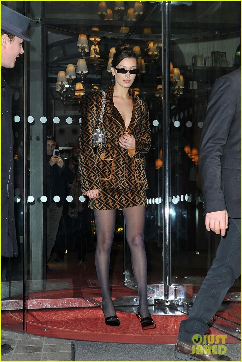 Bold Paris gigi & bella hadid coordinate their bold looks during paris fashion