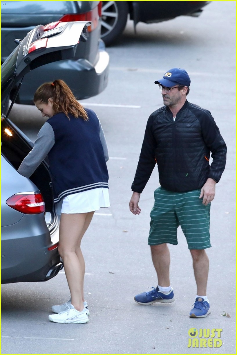 jon hamm plays tennis with a mystery female friend 014056857