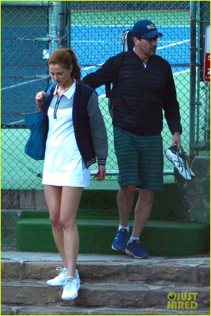 jon hamm plays tennis with a mystery female friend 034056859