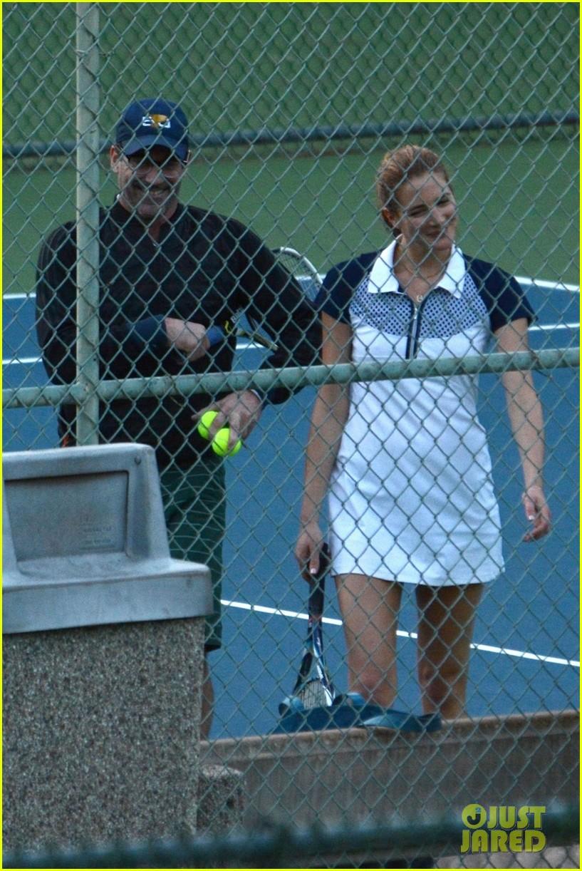 jon hamm plays tennis with a mystery female friend 264056882