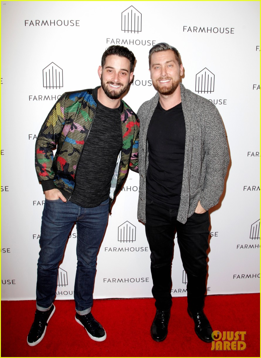 annalynne mccord mena massoud lance bass step out for farmhouse l a grand opening 154051617