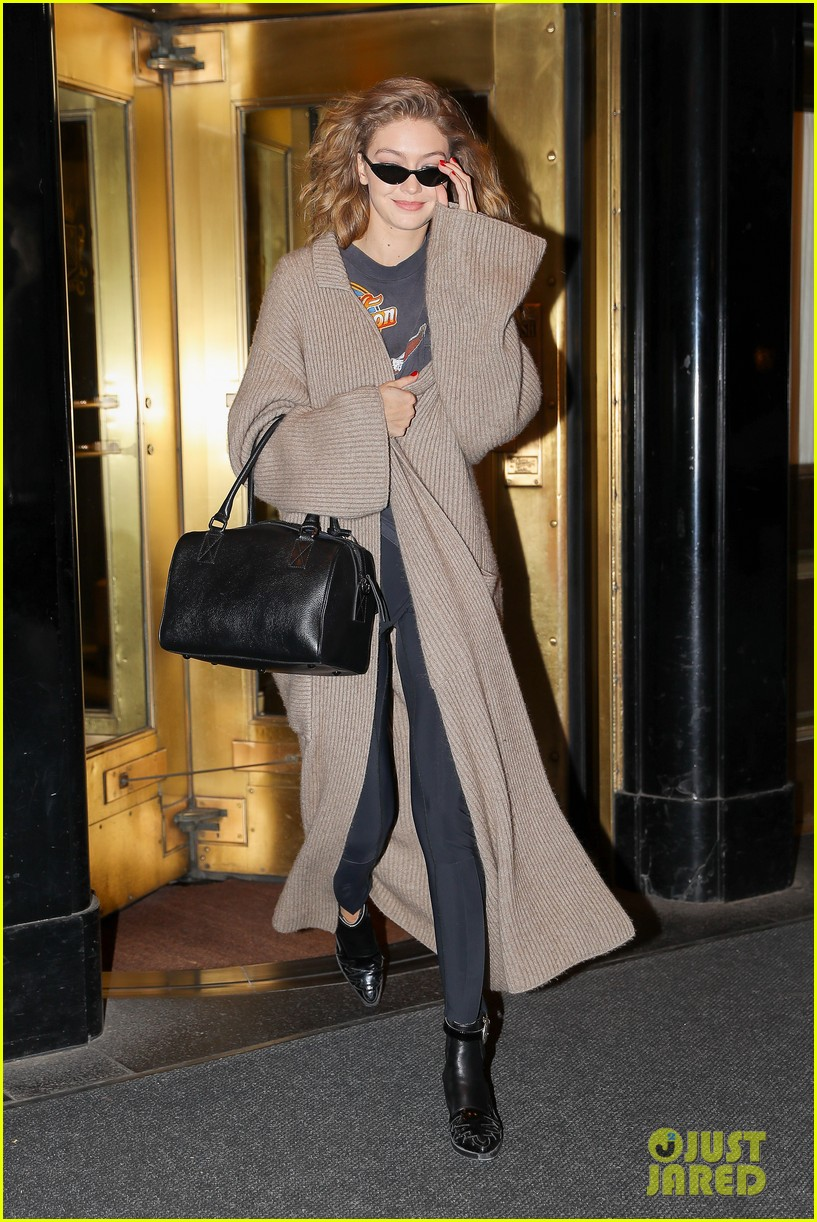 gigi hadid rocks brown maxi cardigan after nyc photo shoot 064066847