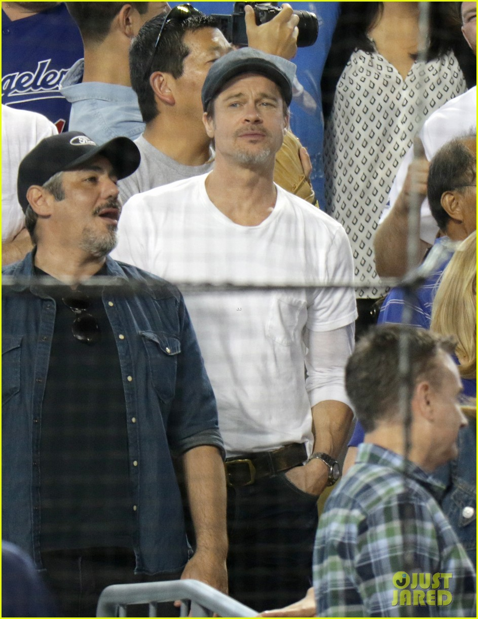 brad pitt steps out solo for dodgers game against oakland athletics 014062679