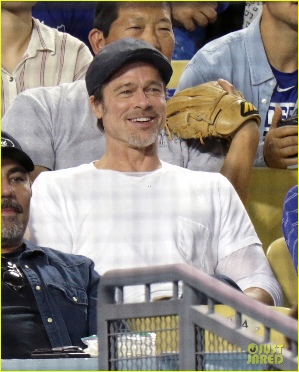 brad pitt steps out solo for dodgers game against oakland athletics 024062680