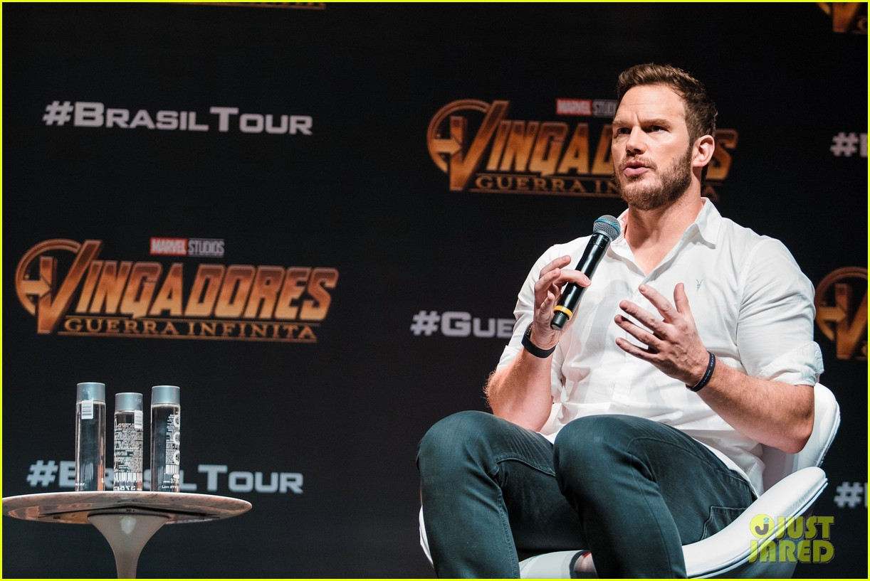 chris pratt reunites with during avengers infinity war brazil press tour 024060293
