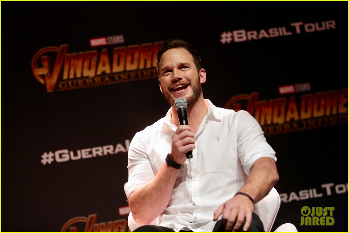 chris pratt reunites with during avengers infinity war brazil press tour 074060298