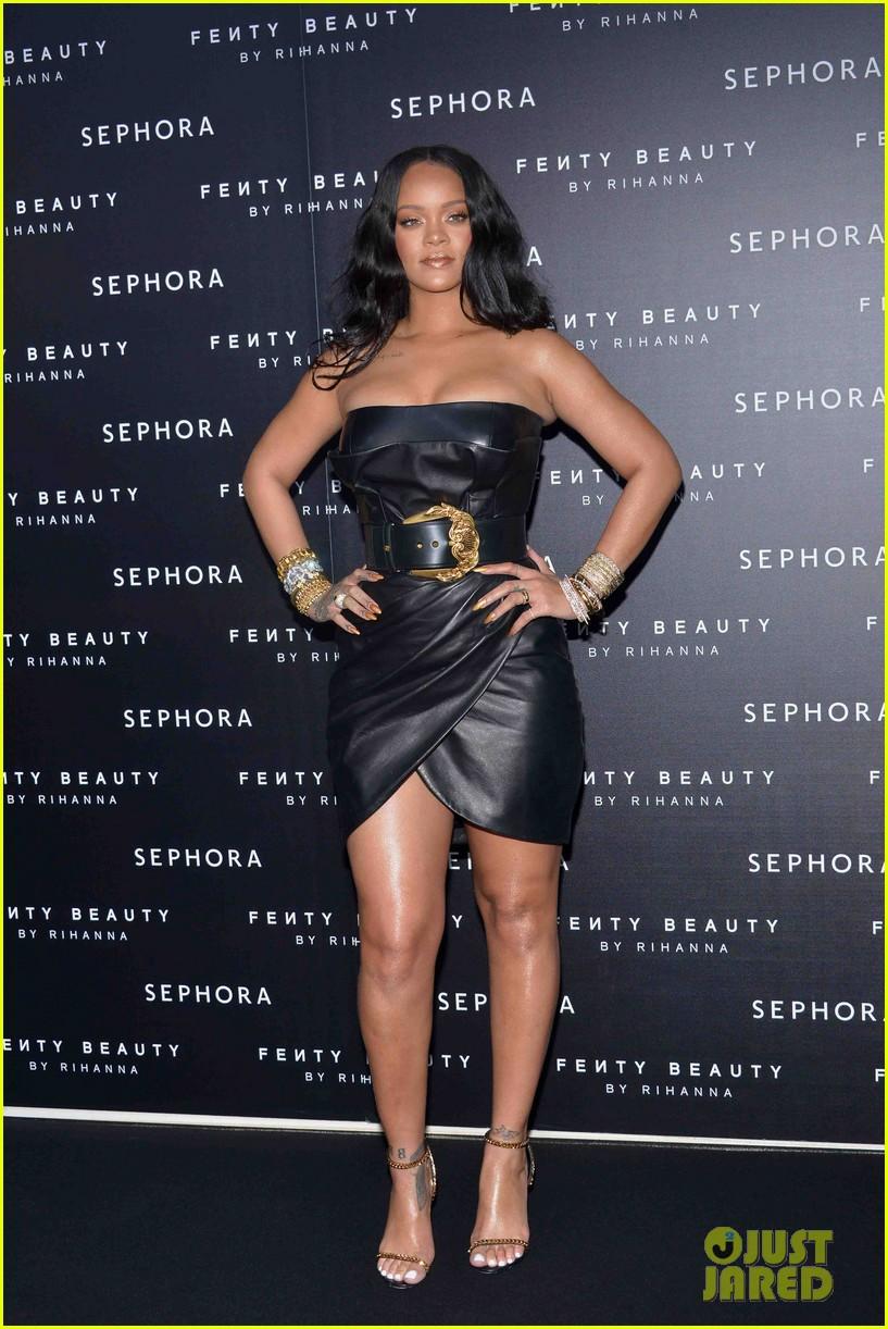 Rihanna Celebrates Fenty Beauty Launch In A Leather Dress