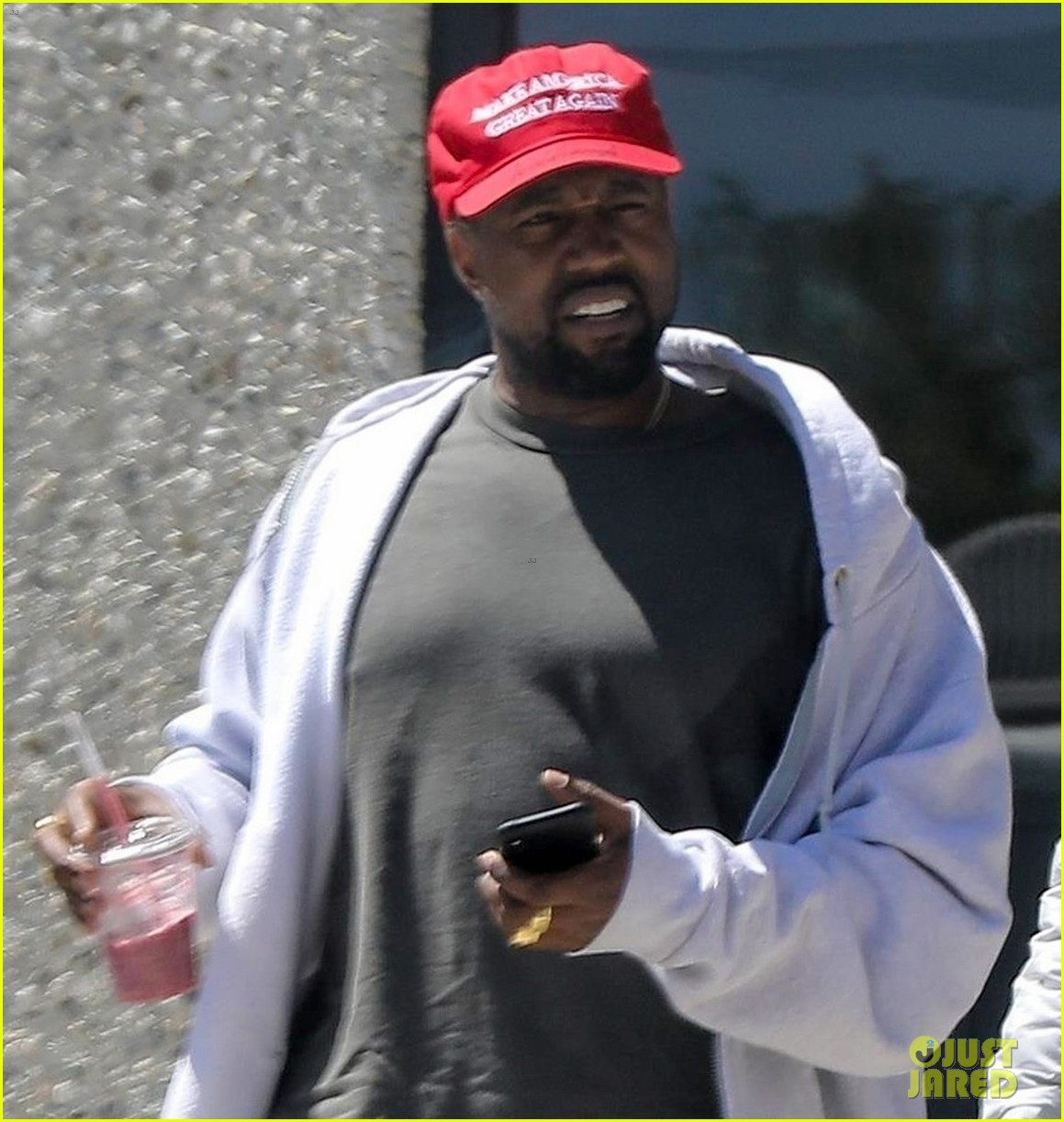 kanye west steps out in a make america great again hat 044072255