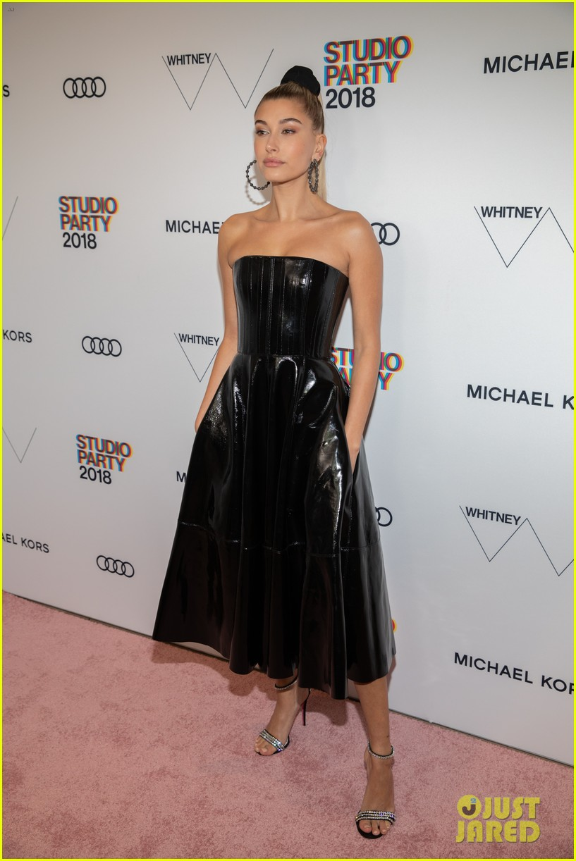 fc4e6a63a5c Hailey Baldwin Looks Sleek in Black Leather Dress at Whitney Gala 2018