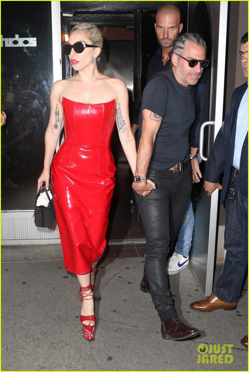 lady gaga rocks red leather dress with christian carino 014092658
