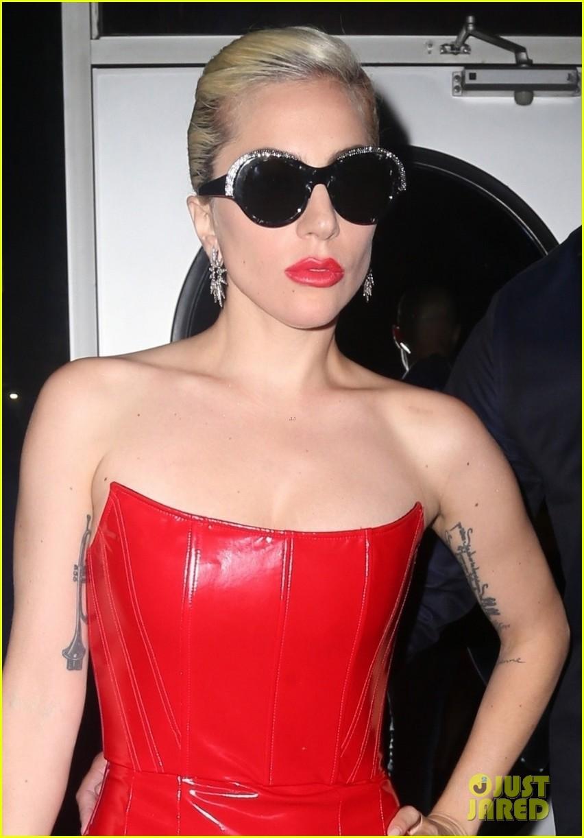lady gaga rocks red leather dress with christian carino 044092661