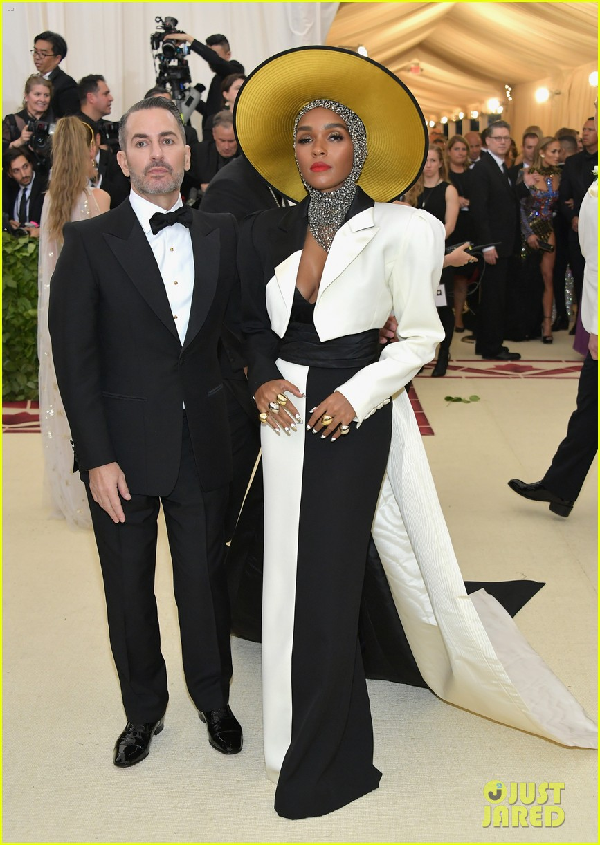 janelle monae is angelic in halo hat and beaded head wrap at met gala 2018 034079046