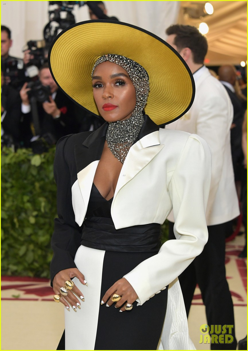 janelle monae is angelic in halo hat and beaded head wrap at met gala 2018 054079048