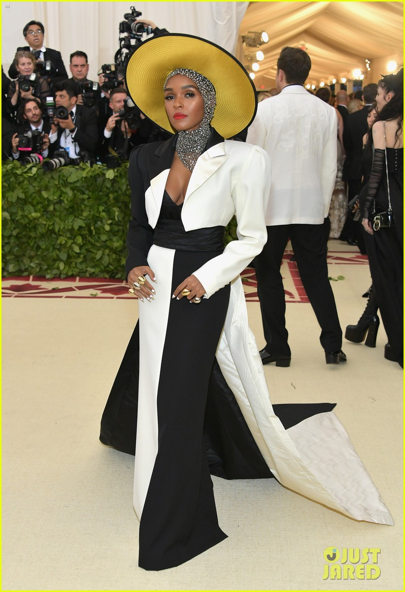 janelle monae is angelic in halo hat and beaded head wrap at met gala 2018 064079049
