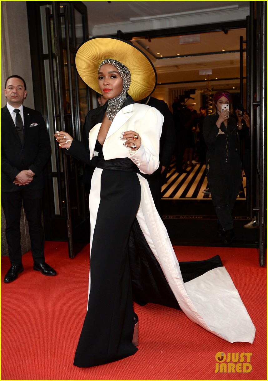 janelle monae is angelic in halo hat and beaded head wrap at met gala 2018 074079050