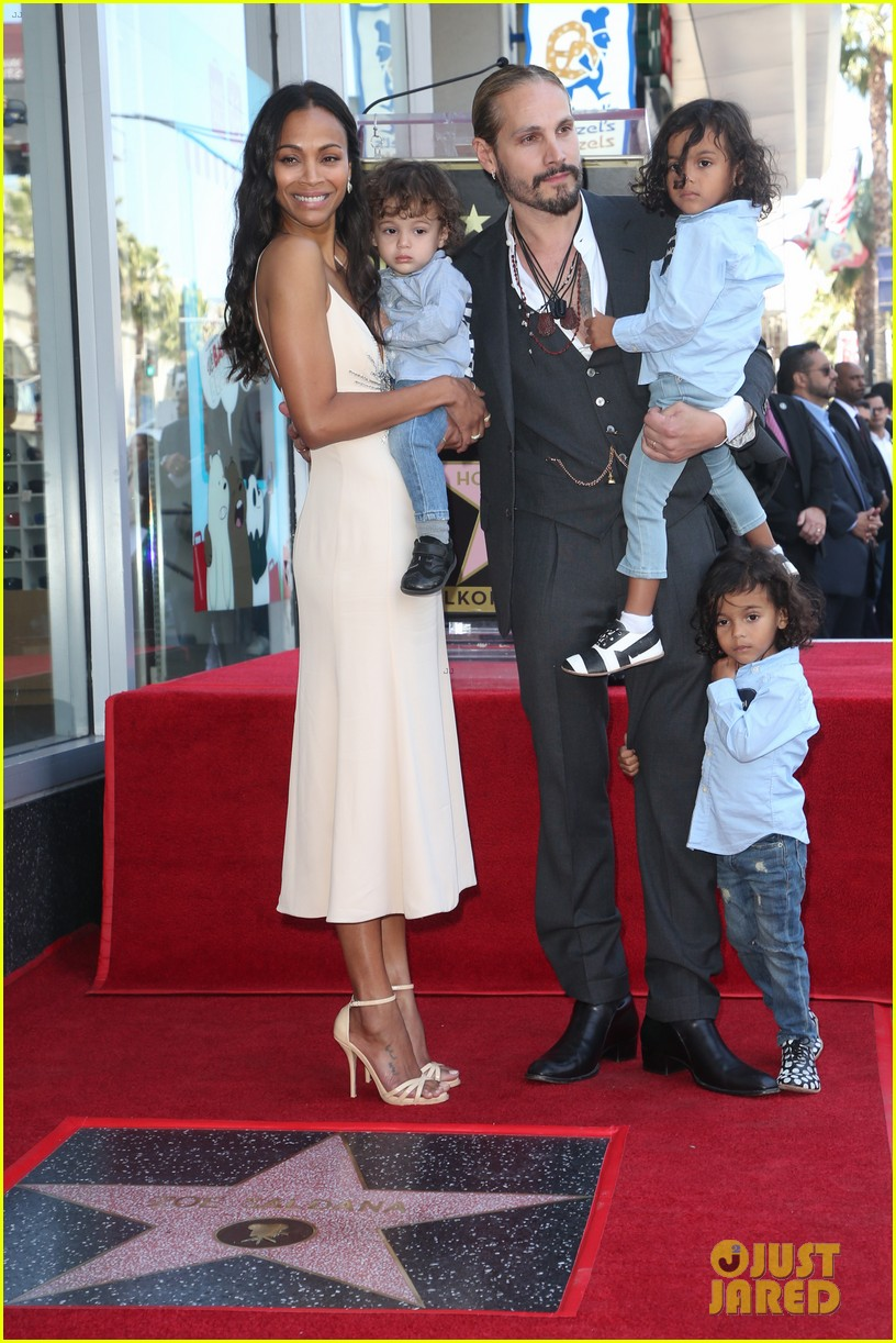 Zoe Saldana's Three Kids Join Her to Unveil Star on ...