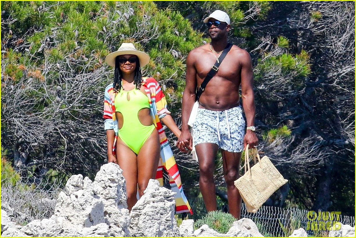gabrielle union and shirtless dwyane wade show some sweet pda on vacation 034091134