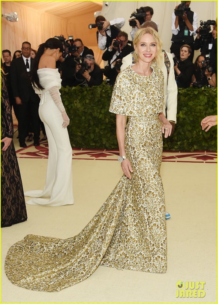 naomi watts looks regal in ornate gold dress at met gala 2018 01