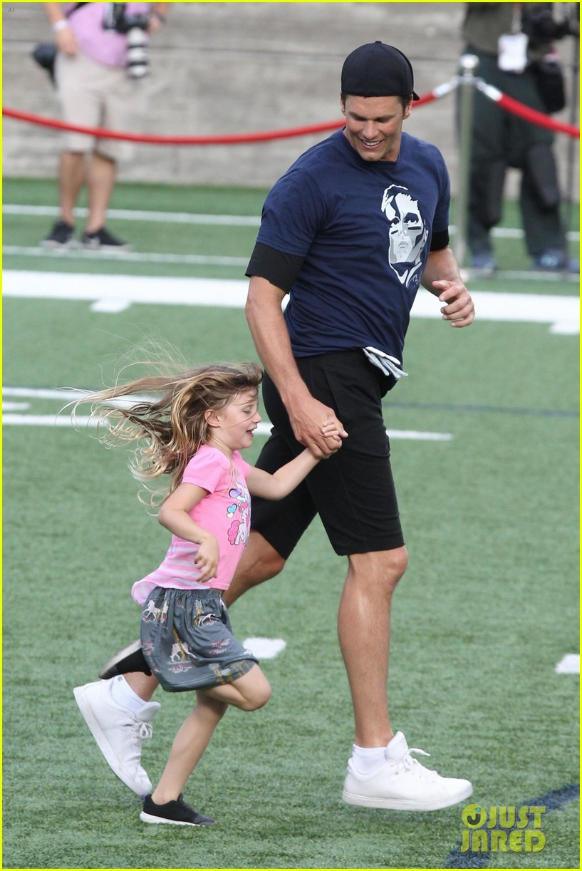 tom brady plays football with his kids best buddies 334094214