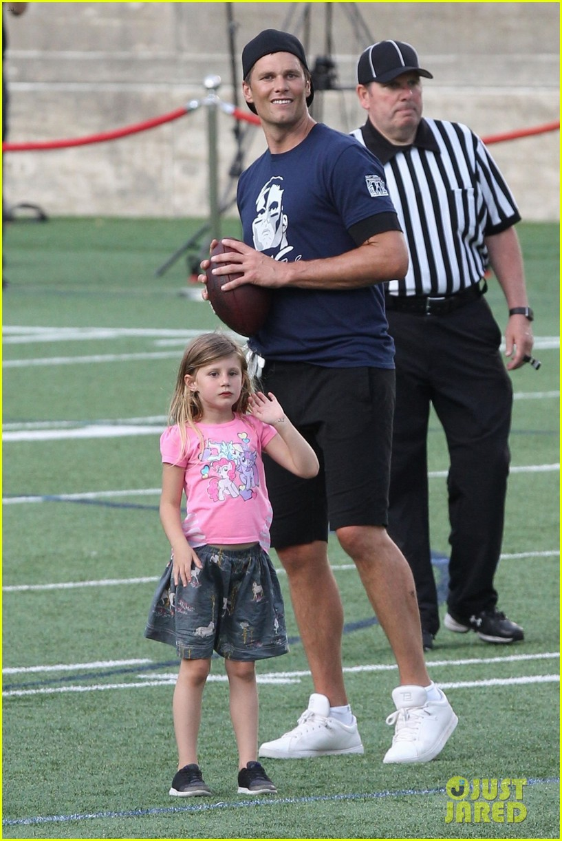 tom brady plays football with his kids best buddies 374094218