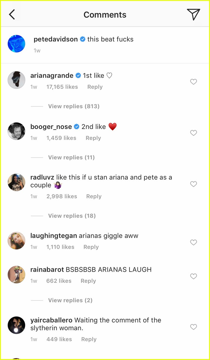 See All Of Ariana Grande Pete Davidson S Cute Comments On Each