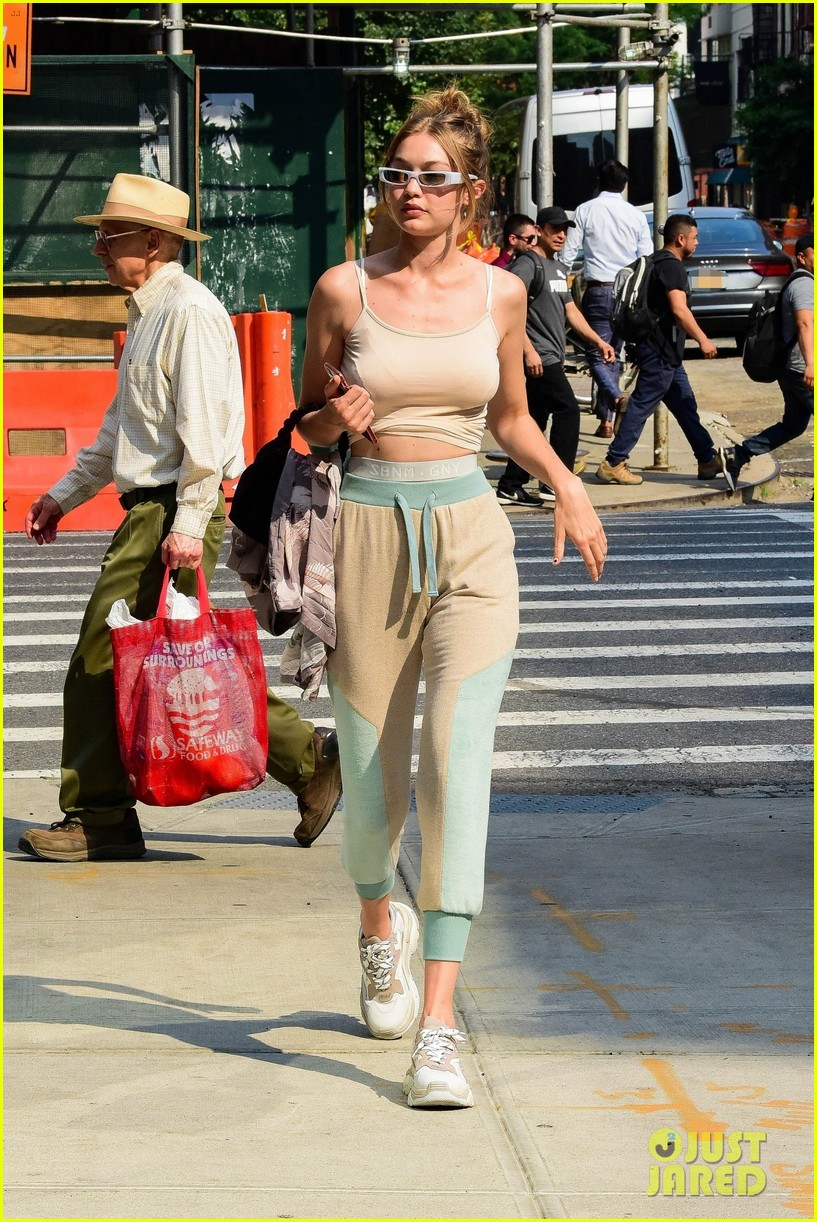 gigi hadid rocks cute crop top and sweatpants while out in nyc 014103853