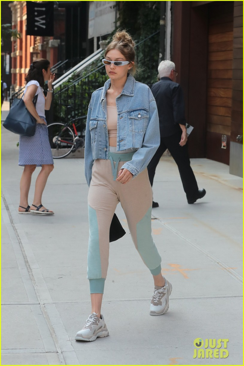 gigi hadid rocks cute crop top and sweatpants while out in nyc 064103858