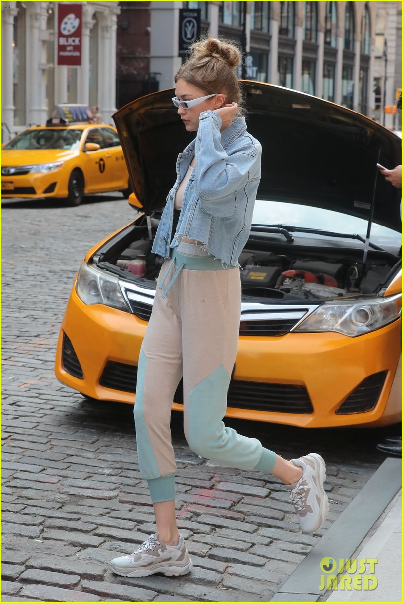 gigi hadid rocks cute crop top and sweatpants while out in nyc 074103859