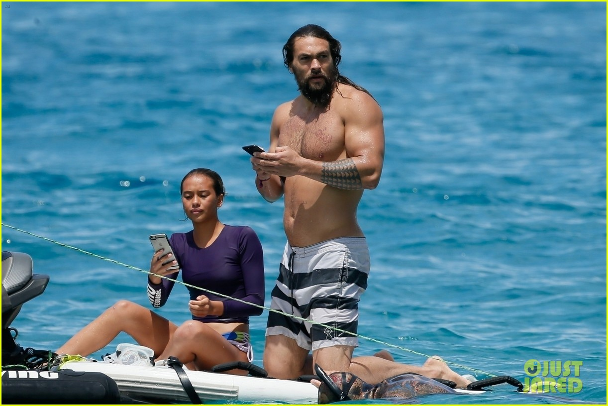 Shirtless Jason Momoa Tosses Phone Into The Sea Dives In To