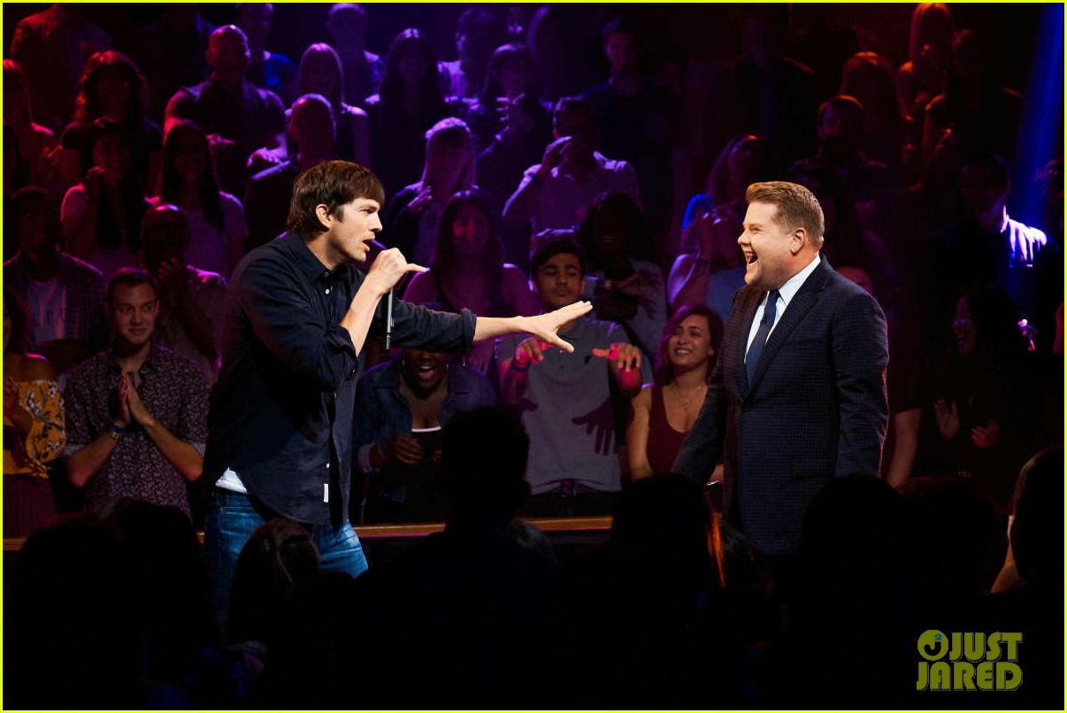 ashton kutcher james corden burn each other with epic drop the mic rap battle 024100850
