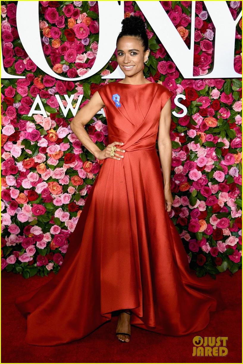 lauren ridloff condola rashad go glam in red for tony awards 2018 044099045