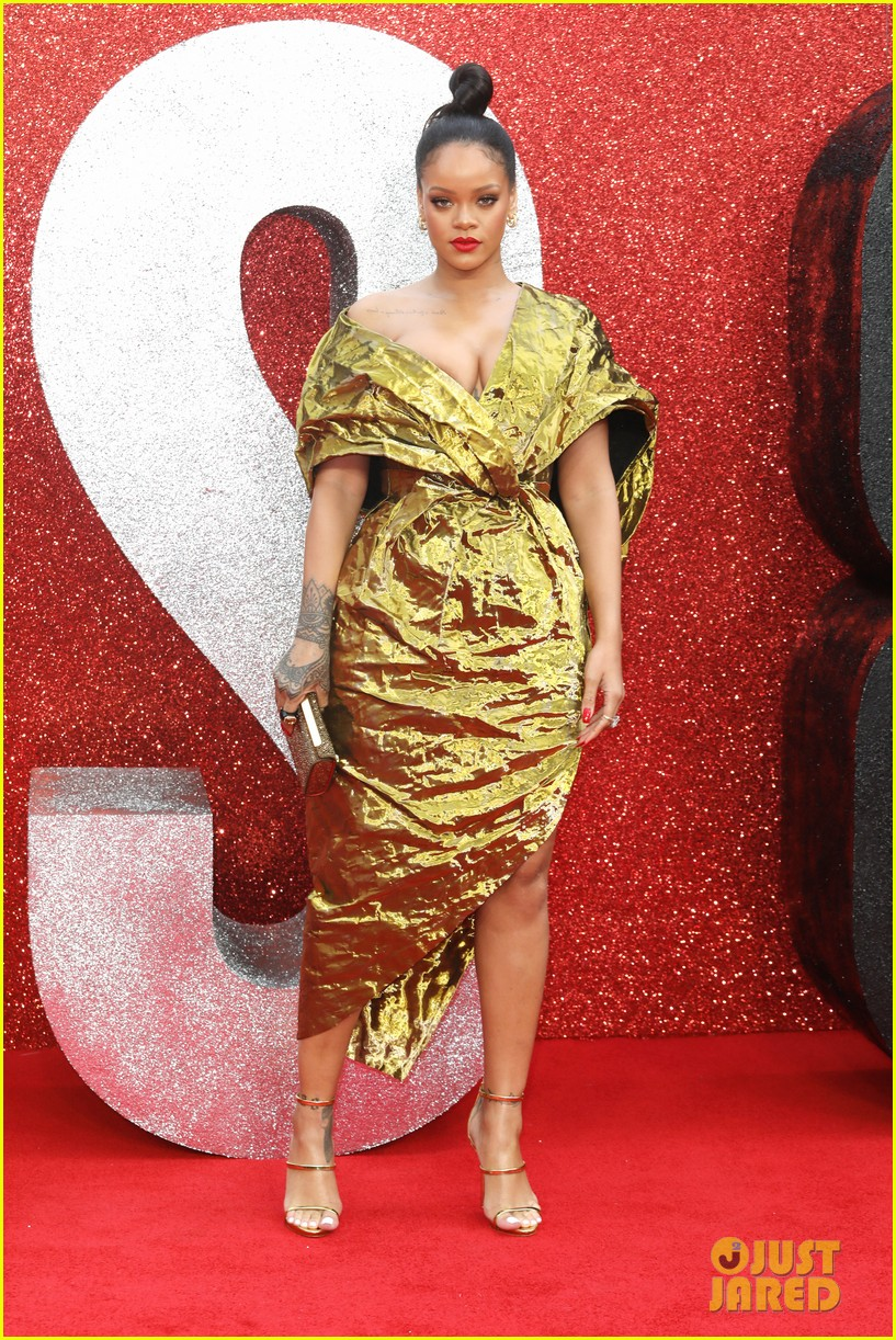 rihanna sparkles in gold at oceans 8 london premiere 064100916