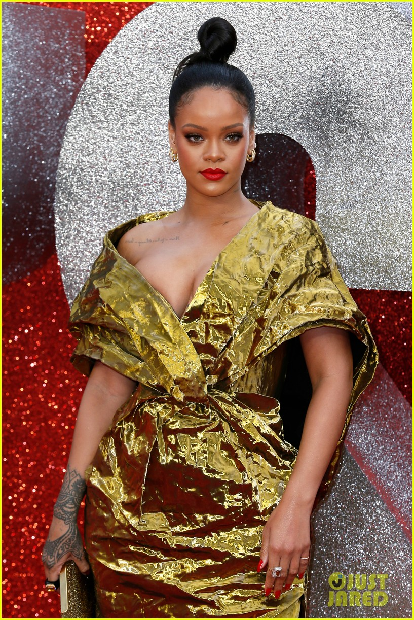 rihanna sparkles in gold at oceans 8 london premiere 124100922